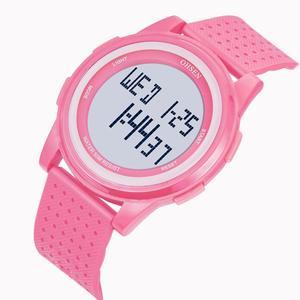 Женские наручные часы с цифрами и светодиодами, модные розовые силиконовые водонепроницаемые спортивные часы с будильником и секундомером