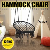 Nordic Style Black Round Hammock Mesh Hanging Chair Furniture Outdoor Garden Swinging Camping Hammock Bed Children Adult