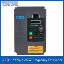 VFD variateur de fréquence pour commande de vitesse, 1,5 kw/CNC kw, entrée 1hp et sortie 3hp