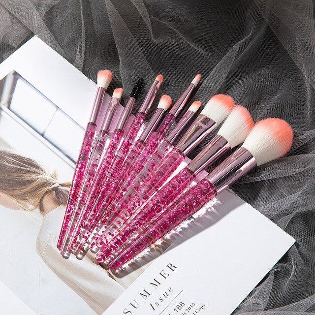 10PCS Professional makeup brush Diamond Crystal brush set Acrylic handle Foundation blush brush powder mixed eye shadow tool kit 2
