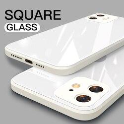 Caixa de vidro temperado quadrado líquido original para o iphone 7 8 plus 11 12 pro max xr xs x se 2 2020 à prova de choque moldura macia capa traseira