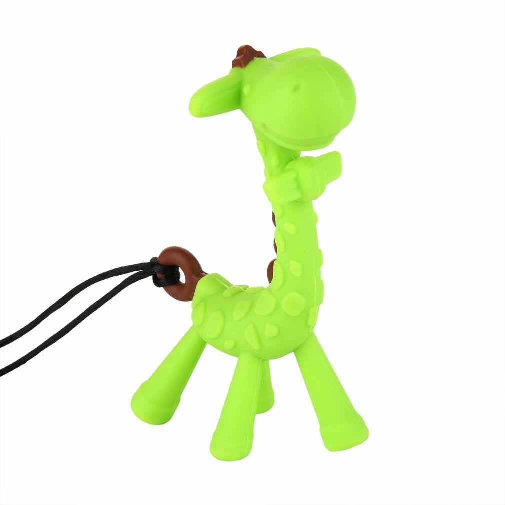 Girafa dos desenhos animados calmante anel de dentição brinquedo chupeta mordedor molar mastigando infantil criança silicone bpa-livre bebê mordedor freeship