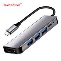 Rankman Type C to HDMI-compatible 4K USB-C 3.0 Adapter Hub for MacBook Samsung S20 Dex Huawei P30 Dock Xiaomi 10 Projector TV