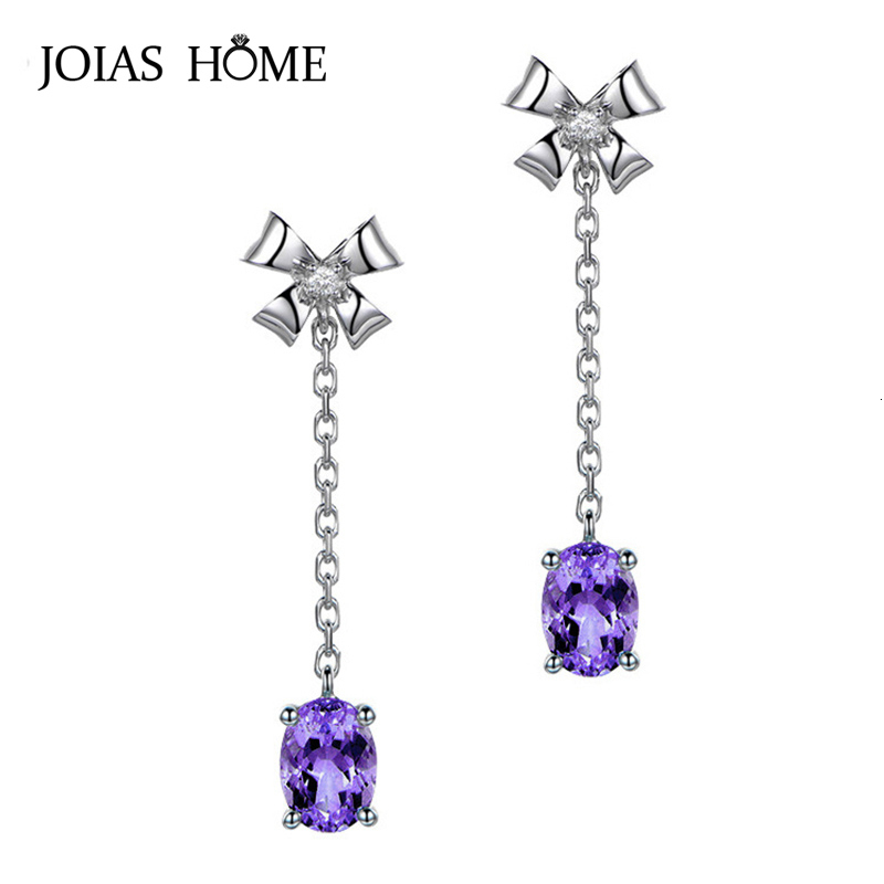 JoiasHome Fashion 925 Sterling Silver Earring With Oval Amethyst Gemstones Bowknot Shaped Drop Earrings For Women Wedding Gifts