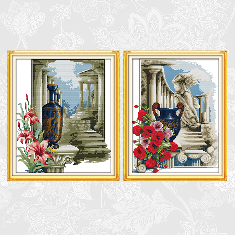 Athens Feeling Cross Stitch Kits 14ct Counted Printed Canvas 11ct Fabric Stitching Embroidery DIY Handmade Needlework Crafts