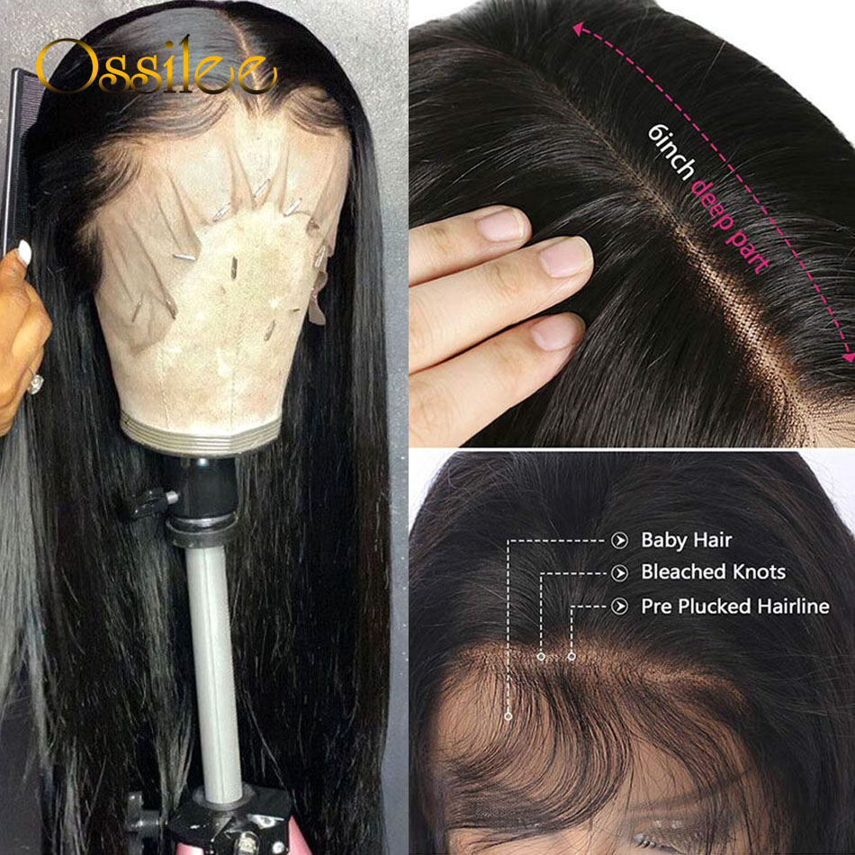 13x4/13x6 Straight Lace Front Human Hair Wigs 360 Lace Frontal Wigs Remy Brazilian Human Hair Lace Wigs for Women 250 Density 2