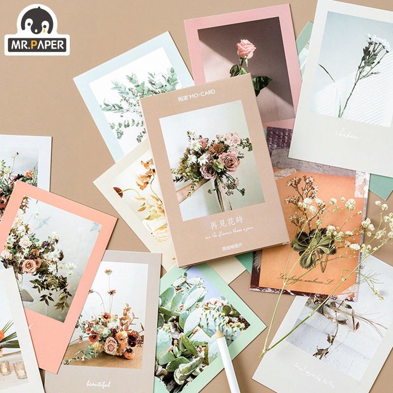 Mr.Paper 30pcs/box Goodbye Flora Ins Style Flowers Postcards Vintage Retro Style Creative Writing Greeting Gift Postcards
