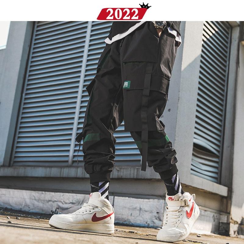 2022 Men Ribbons Streetwear Cargo Pants 2019 Autumn Hip Hop Joggers Pants Overalls Black Fashions Baggy Pockets Trousers