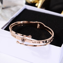 YUN RUO 100 languages I love you Projection Bangle Rose Gold Color Titanium Steel Jewelry Woman Birthday Gift Not Change