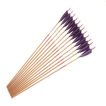 """12pcs spine400 500 600 Carbon arrows wood skin carbon arrow shafts ID6.2mm 5"""" Turkey fletching feather  for traditional bow"""