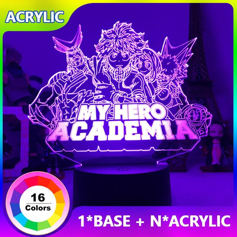 Акриловый светодиодный ночник с аниме 3D, настольная лампа «Моя геройская Академия», светильник для спальни, украшение в качестве детского п...