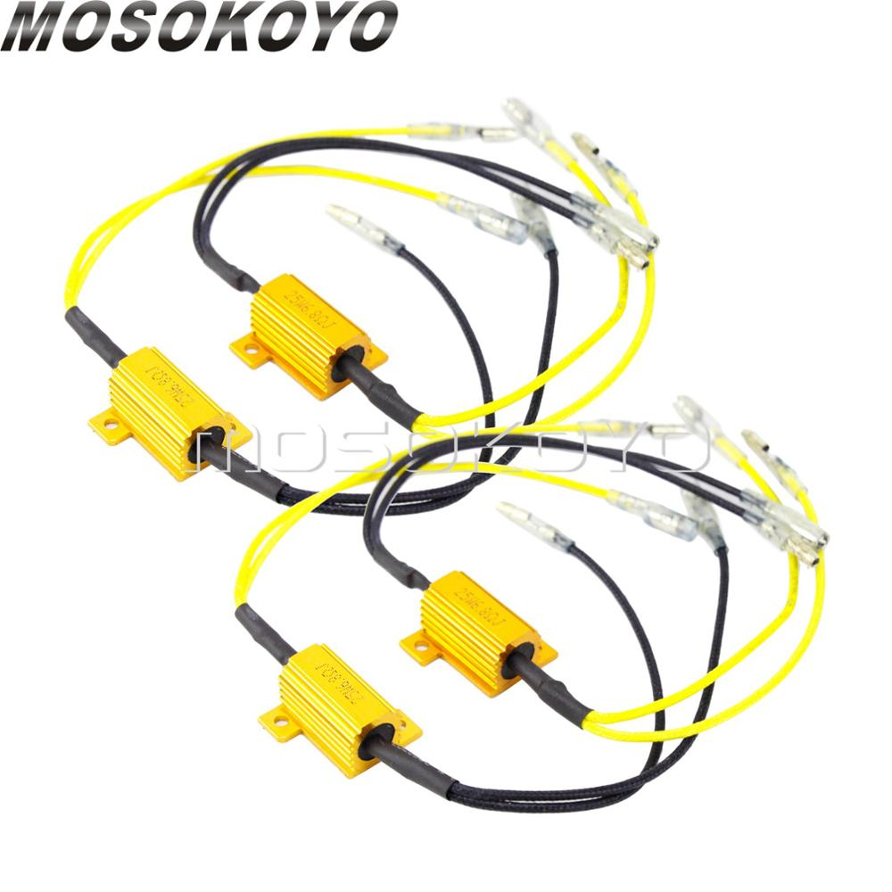 4pcs Motorcycle LED Turn Signal  12V 25 W 6.8 Ohms Load Resistor Indicator Adapter Universal Flasher Rate Controller
