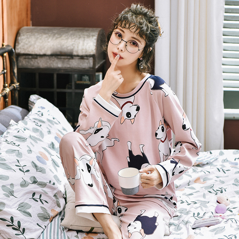 Women Pajamas Set Cotton Pink Cartoon Printed Long Sleeve Dog Cute Sleepwear Casual Home Wear Women Night Suit Nighty Nightwear