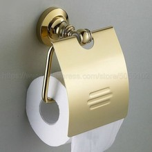 Gold Color Brass Toilet Paper Holder Bathroom Roll Accessory Wall Mount Tissue zba105