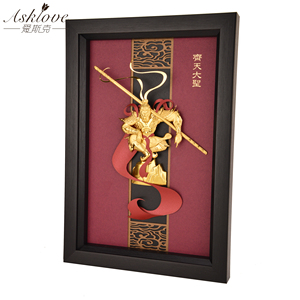 Image 3 - 3D Monkey king Pictures Gold Foil painting Handicraft Framed Painting Sun Wukong Wall pictures for Living Room Home Decor Gifts
