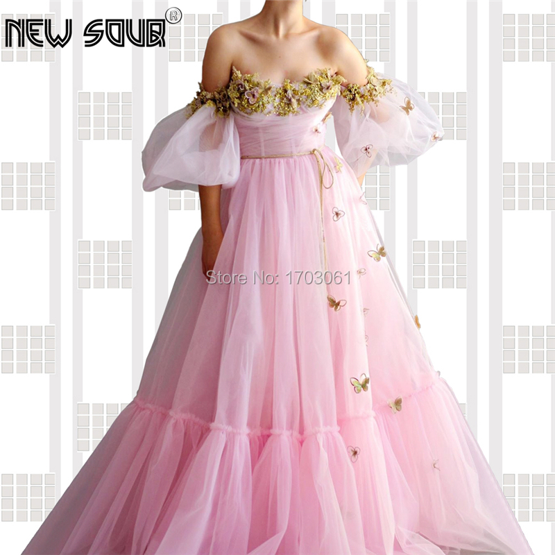 Embroidery Pink Elegant Prom Dresses Off The Shoulder Muslim Dubai Evening Dress Beading Long Arabic Party Gown Robe De Soiree
