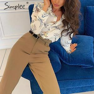 Image 2 - Simplee Women fashion high waist pencil pants Spring female casual belt patchwork long pants Office lady work wear trousers