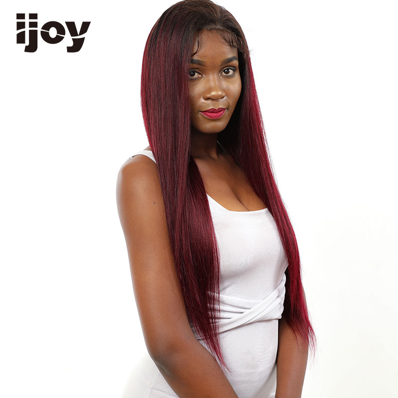 Ombre 1B/Burgundy Wig Lace Front Colored Human Hair Pre-Plucked Baby Hair 4x13 Red Highlight Wig 16-26″ Brazilian Non-Remy IJOY
