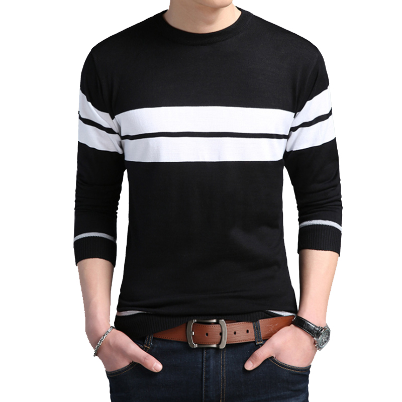 2020 Casual Sweater Male O-Neck Striped Slim Fit Knittwear Autumn Mens Sweaters Pullovers Pullover Dress for Men M-3XL