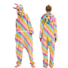 Adults Pijama Animal Unicorn Pajamas Sets Panda Cartoon Kigurumi Women Winter Unisex Flannel Stitch Unicornio Sleepwear