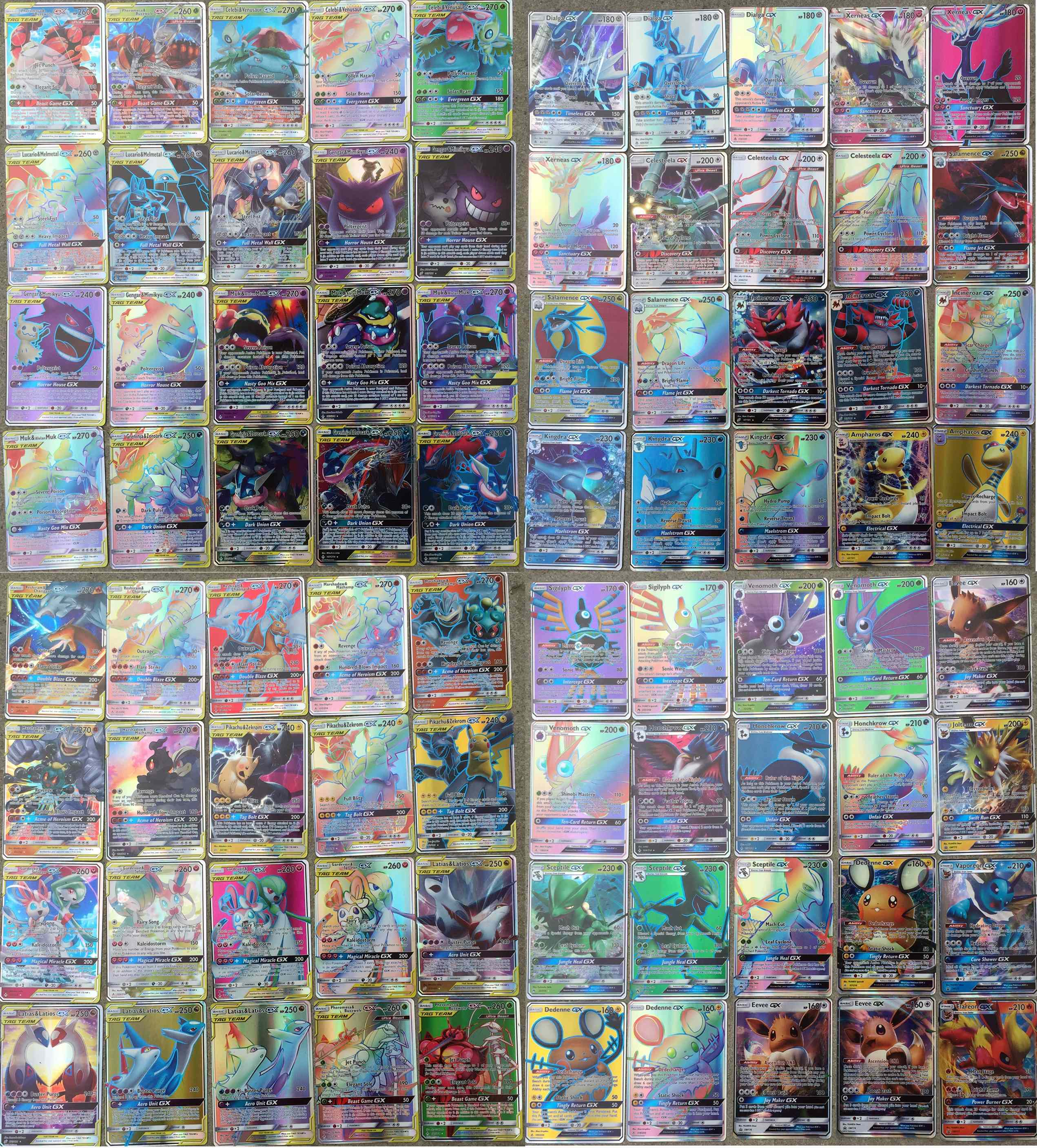 NEW CARDS 120C/D Pcs 40TEAM + 80GX  Ultra Beast TCG Shining Cards Game Battle Trading Cards For Children Toys Xmas