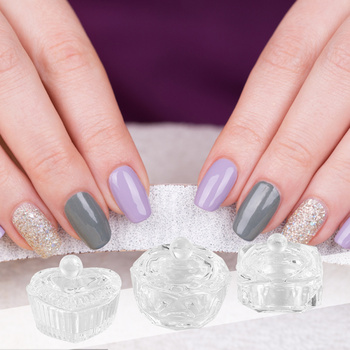 3pcs Nail Art Glass Crystal Cups with Lid Manicures Liquid Powder Glass Cup