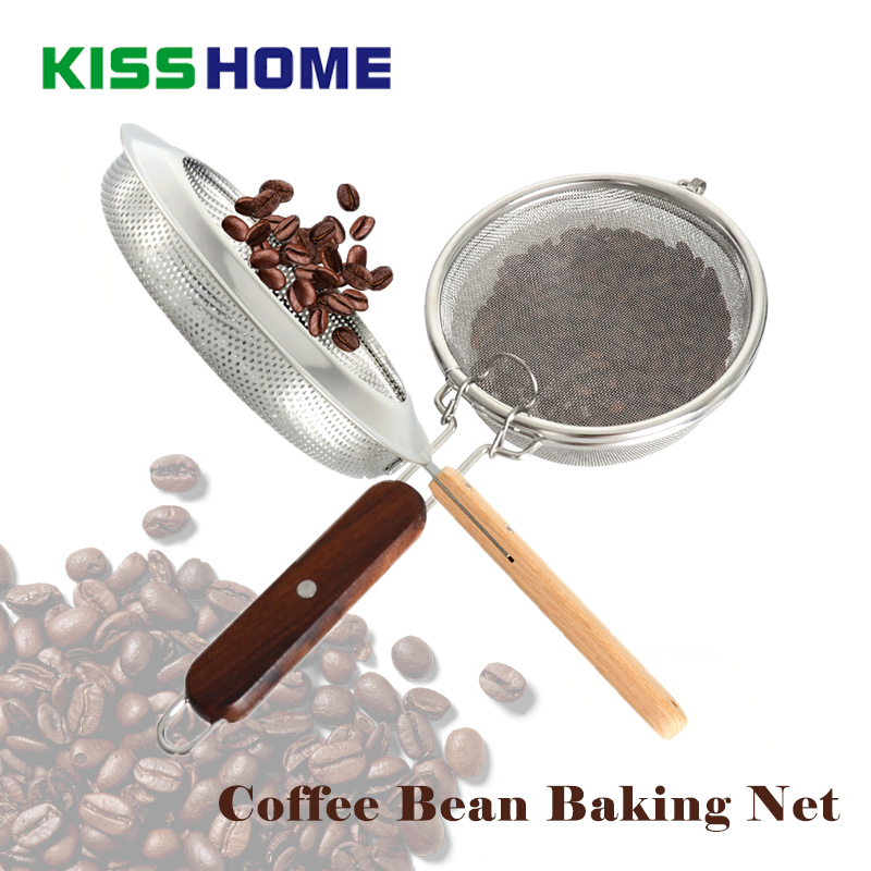Coffee Baked Bean Net Filter Spoon Stainless Steel Beans Baking Fried Nets With Black Rosewood Handle Accessrioes