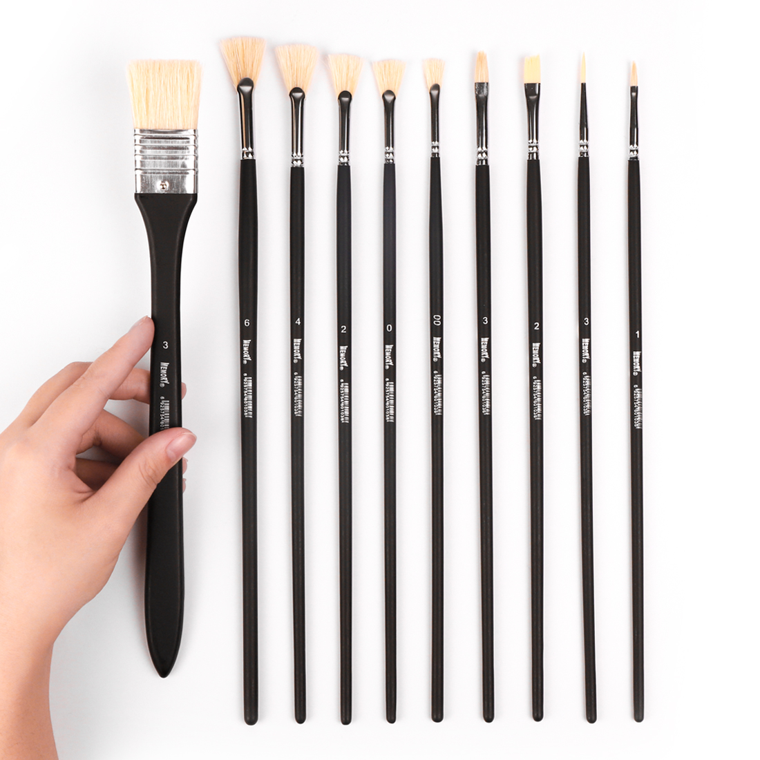 Memory 10Pcs Professional Paint Brushes Set for Drawing Painting Oil Acrylic Watercolor Art Supplies