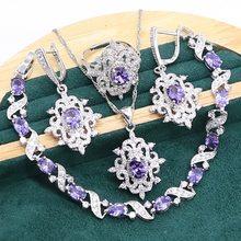 Roxo ametista 925 conjunto de jóias de prata esterlina para mulheres pulseira brincos colar pingente anel