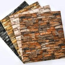 Autocollants muraux en brique véritable 3D, 70x77cm, décoration de maison, bricolage, panneaux de brique d'arrière-plan rétro rustique imperméable, revêtement mural ancien