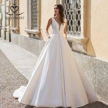 Vestido de novia de satén con cuentas sencillas, Vestido de novia de corte en línea de forma de A con cuello en V elegante de 2020, Vestido de novia personalizado de Swanskirt UZ06