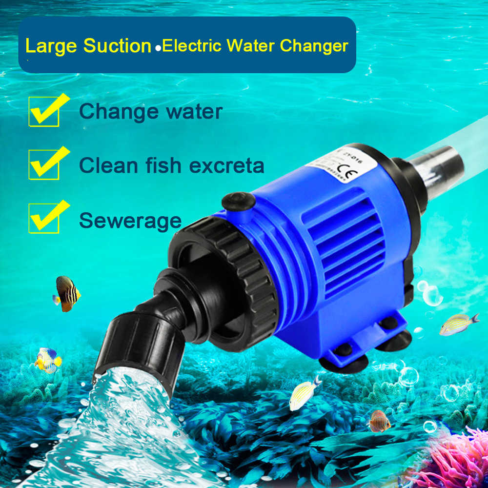 Automatic Fish Tank Water Changer Pump Aquarium Gravel Cleaner Fish Feces Siphon Vacuum Pump Cleaner With Hose Blanket 220V-240V