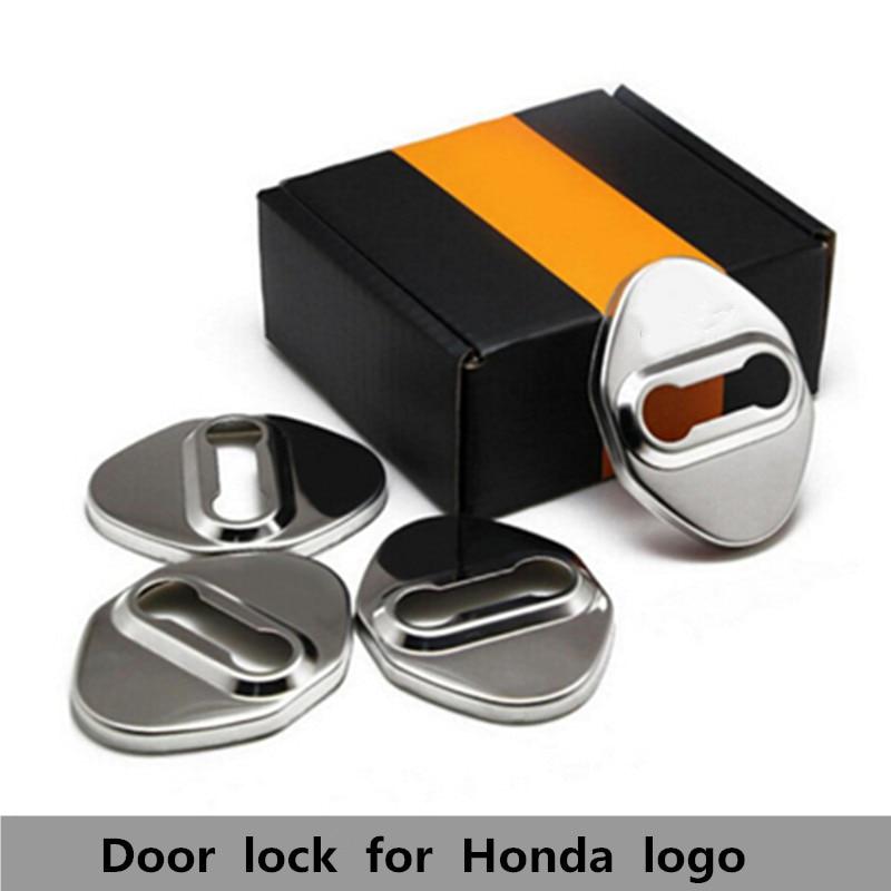 4PCS Stainless Steel Car Door Lock Striker Decoration Cover DIY Protective Case Sticker For HONDA Accord CRV JADE Fit VEZEL