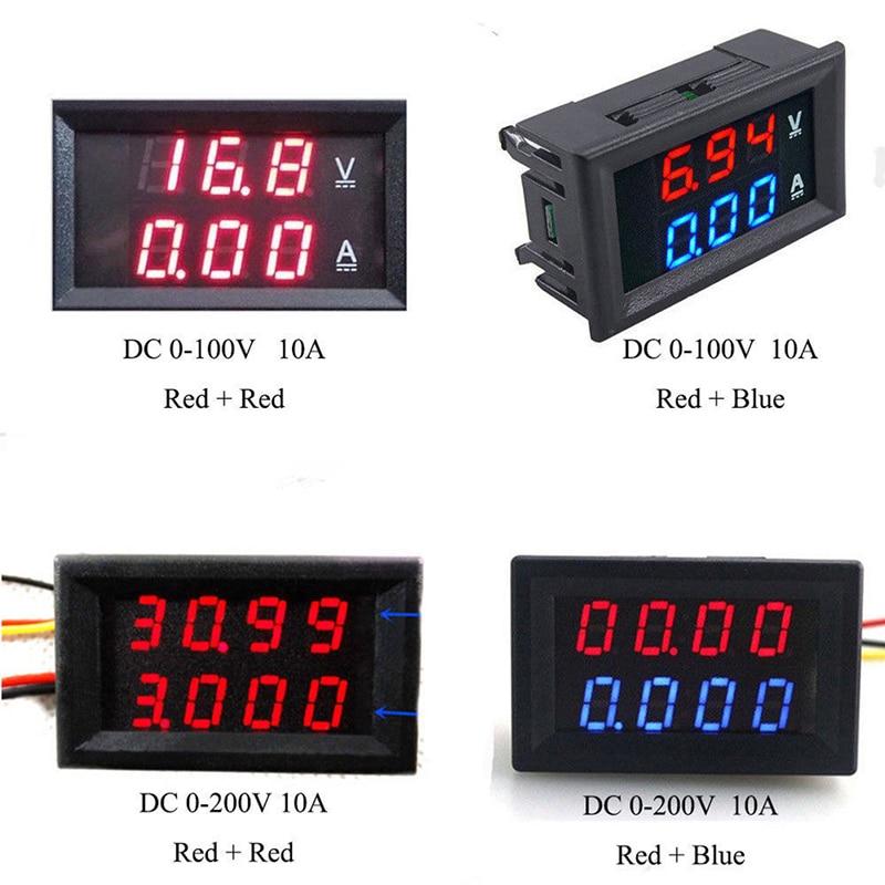 Medidor de voltímetro ajustable Panel voltímetro Detector de amperios doble pantalla Led DC 0-10 a 100V corriente de voltaje Digital LCD del probador del metro
