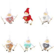 9x9cm Cute Cartoon Skiing Angel Plush Doll Christmas Tree Pendant Drop Hanging Ornaments Snowman Toys Gift Home Party Decoration u7 100% 925 sterling silver heart shape engraved personalized custom photo pendant necklace mother s day gifts for lovers sc83