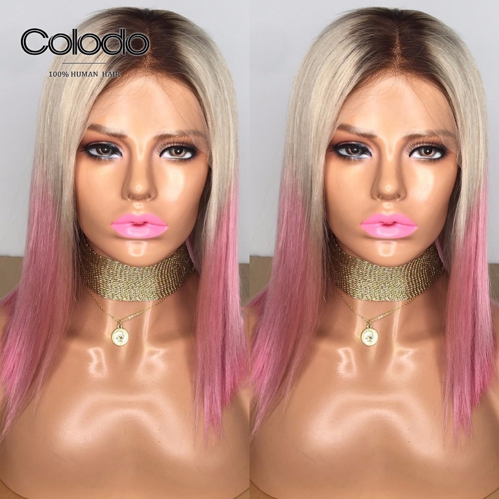 COLODOO Ombre Three Colors Bob Lace Front Wigs Brazilian Remy Human Hair Wigs Pre Plucked Purple Pink Short Bob Wigs For Women