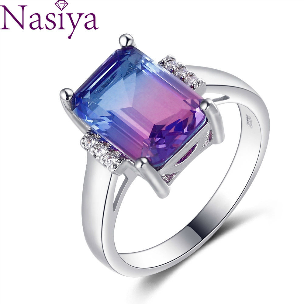 Multicolor Rainbow Gemstone Ring Large Rectangular 10 * 14MM Tourmaline Craft Zircon Ring Female Engagement Wedding Party Gift