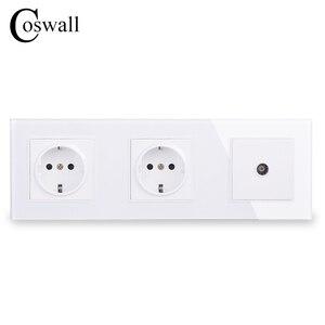 Image 1 - COSWALL Panel de cristal de pared con doble potencia, enchufe con conexión a tierra 16A, toma eléctrica de la UE con conector de TV hembra