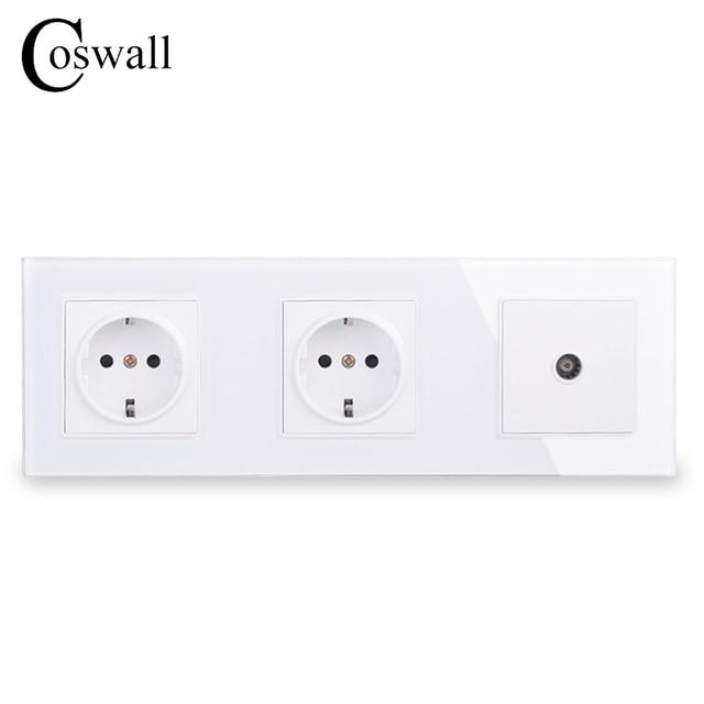 COSWALL Panel de cristal de pared con doble potencia, enchufe con conexión a tierra 16A, toma eléctrica de la UE con conector de TV hembra