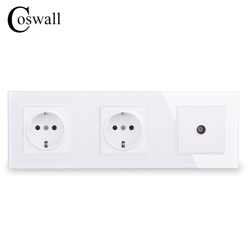 COSWALL Wall Crystal Glass Panel Double Power Socket Grounded 16A EU Electrical Outlet With Female TV Jack