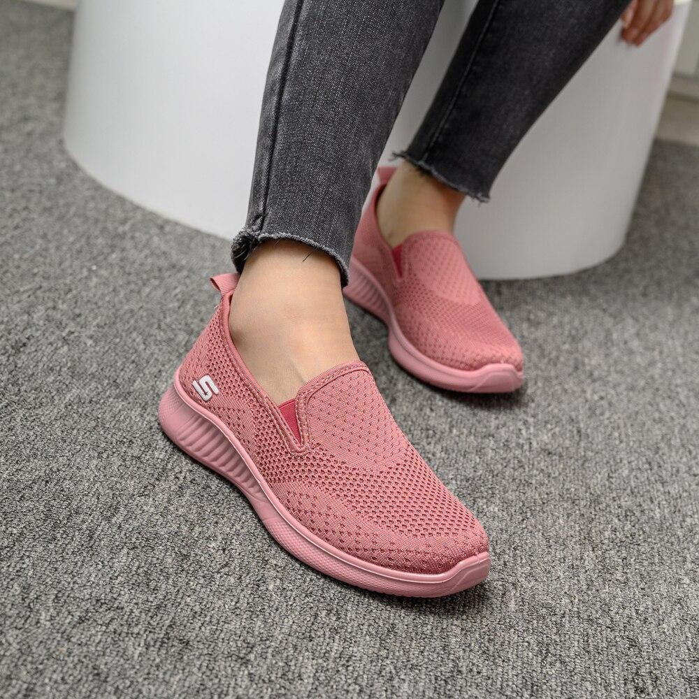 2020 summer women sneakers slip on soft women's shoes flat casual sock shoes Ladies  Mesh lofaers fashion Vulcanize Shoes 1