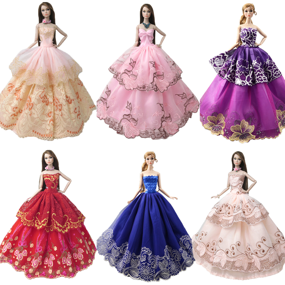 NK One Pcs Princess Princess Wedding Dress Noble Party Gown For Barbie Doll Fashion Design Outfit Bästa gåva för Girl 'Doll JJ