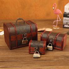 Vintage Storage Box With Lock Storage Container Box Trinket Jewelry Bracelet Pearl Ring Wooden Treasure Case Chest Organizer