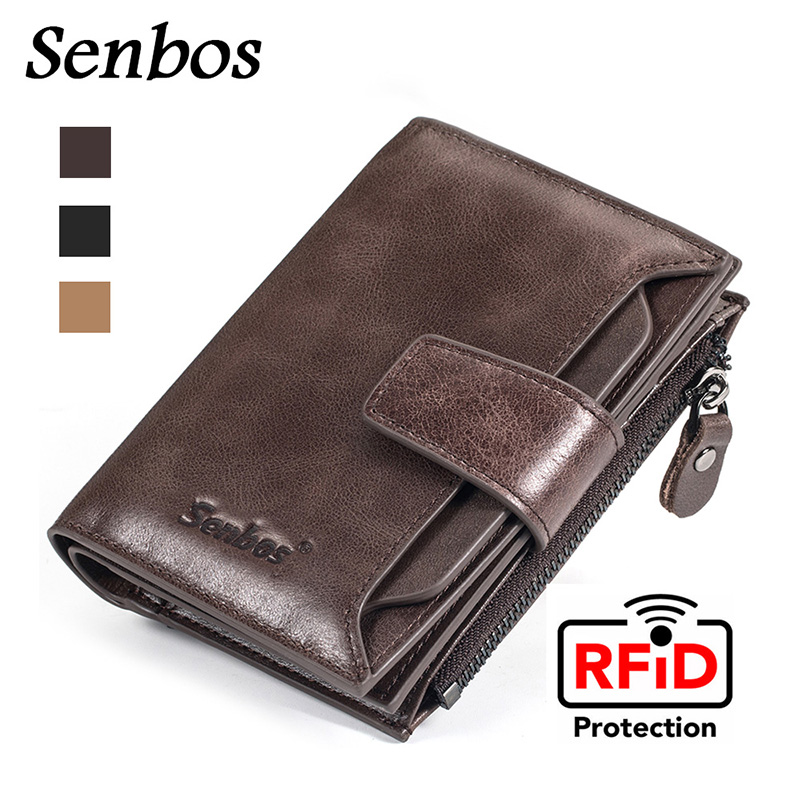 Money Purse Card-Holder Short Coin-Pocket RFID Zipper Wallet With Male Genuine-Leather