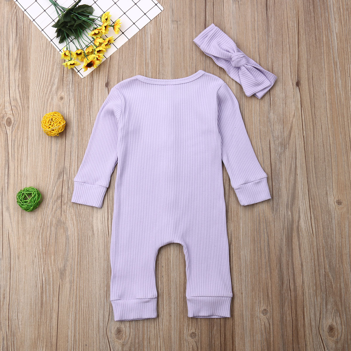 H69bf4959199c4134b53106a12390b494s Spring Fall Newborn Baby Girl Boy Clothes Long Sleeve Knitted Romper + Headband Jumpsuit 2PCS Outfit 0-24M