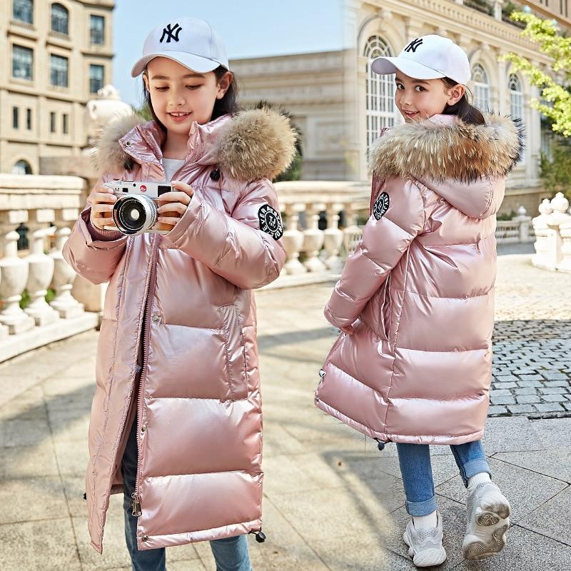 -30 зимнее пальто для русской зимы женская одежда для девочек куртка-пуховик Зимнее пальто с капюшоном и натуральным мехом детская парка для ...