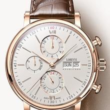 Швейцарские LOBINNI мужские часы люксовый бренд Perpetual Calender Авто Механические Мужские часы Сапфировая кожа relogio L13019-6