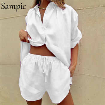 Sampic Summer Tracksuit Women Lounge Wear Shorts Set Short Sleeve Shirt Tops And Loose Mini Shorts Suit Two Piece Set 12