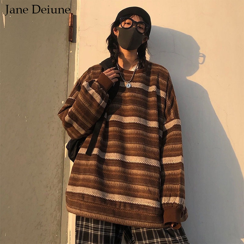 Пуловеры для женщин и мужчин, Свитер оверсайз, зимний теплый хип-поп Ulzzang BF унисекс Повседневный полосатый вязаный модный ретро повседневны...