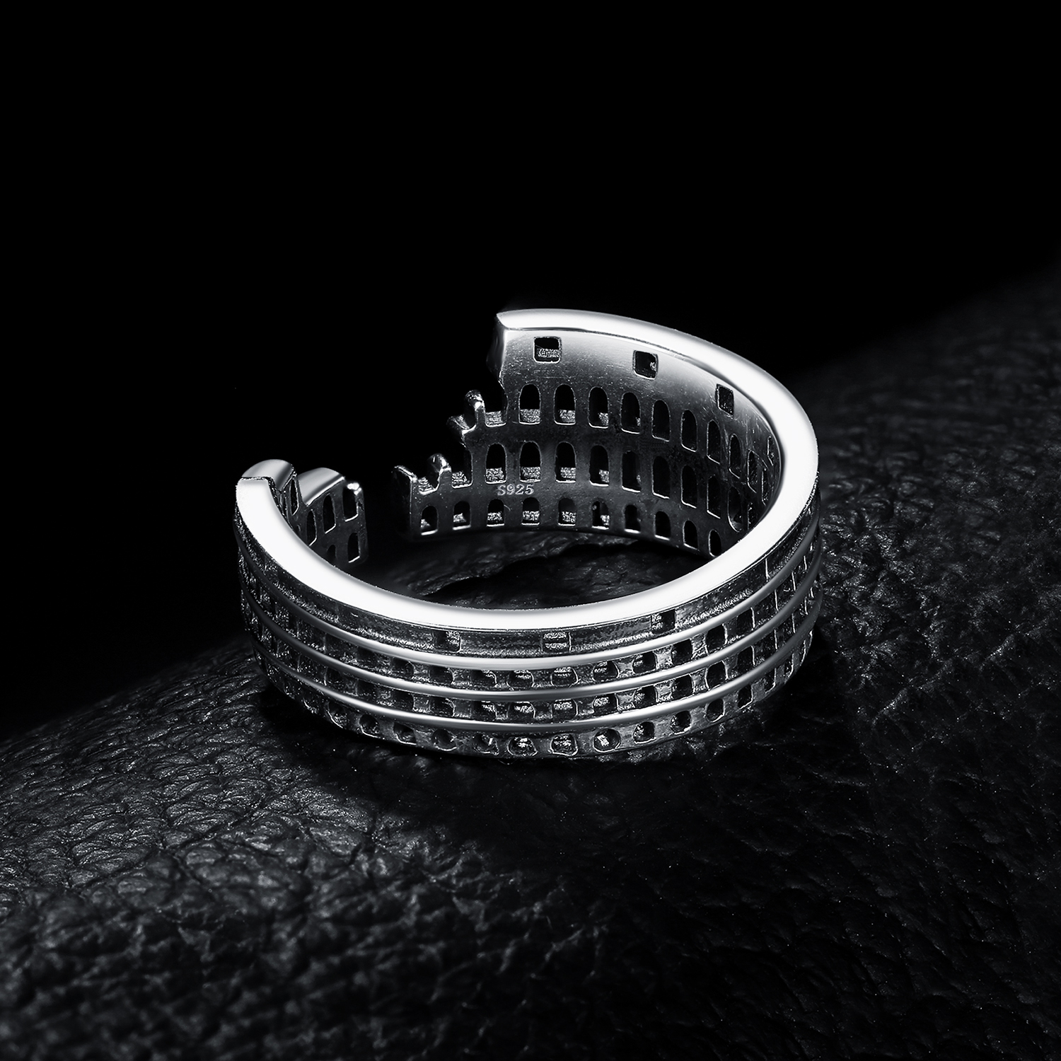 Image 2 - JewelryPalace Roman Colosseum Rings 925 Sterling Silver Rings for